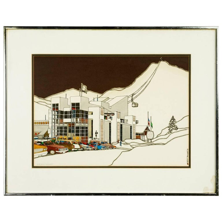 Mid-Century Original Squaw Valley Print by Woody Hansen, 1973 For Sale