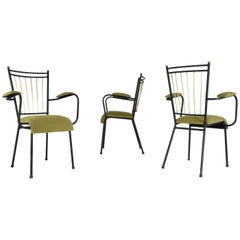 French Mid-Century Steel Armchairs, 1950's