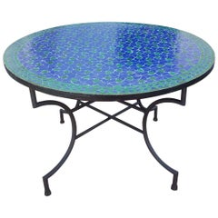 Round Moroccan Mosaic Table, Blue / Green
