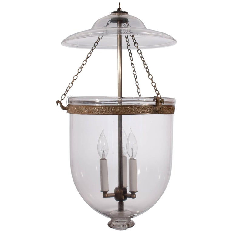Large 19th Century English Clear Glass Bell Jar Lantern