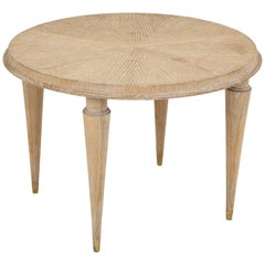 French Cerused Oak Round Cocktail Table or Side Table