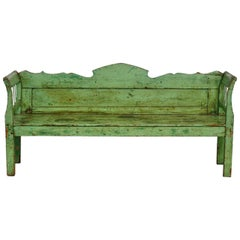 Country French Farmhouse Lacquered Pine Settle Bench