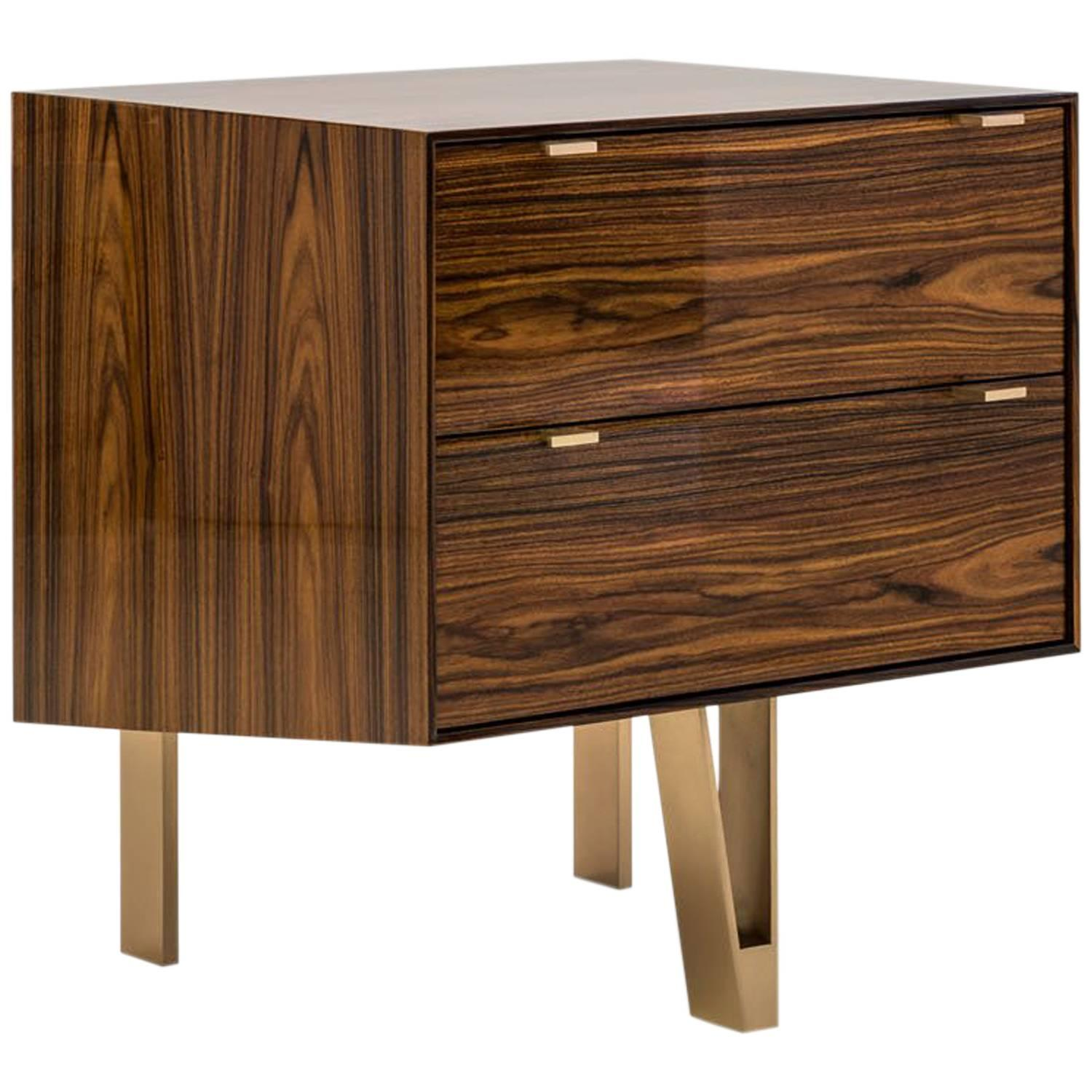 Saxton Cabinet / End Table in Lacquered Santos Veneer and Silicon Bronze Legs