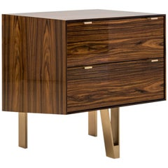 Saxton Cabinet / End Table in Lacquered Rosewood Veneer and Silicon Bronze Legs