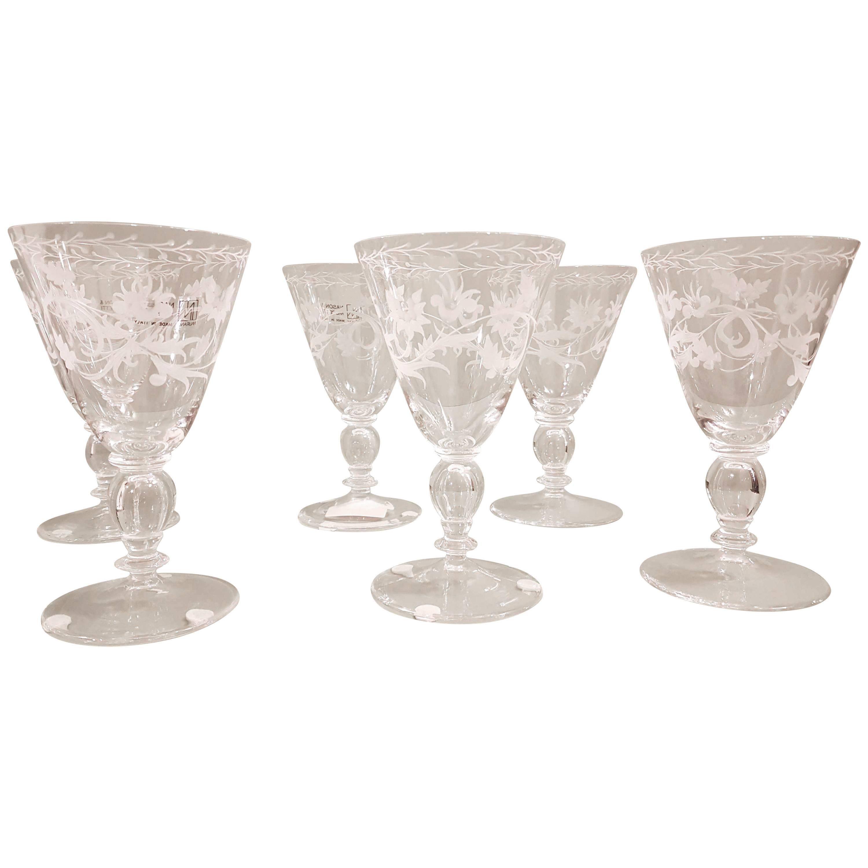 Set of Six Murano Blown and Engraved Wine Glasses, NasonMoretti, Modern