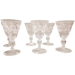 Set of Six Murano Blown and Engraved Wine Glasses, NasonMoretti, Modern