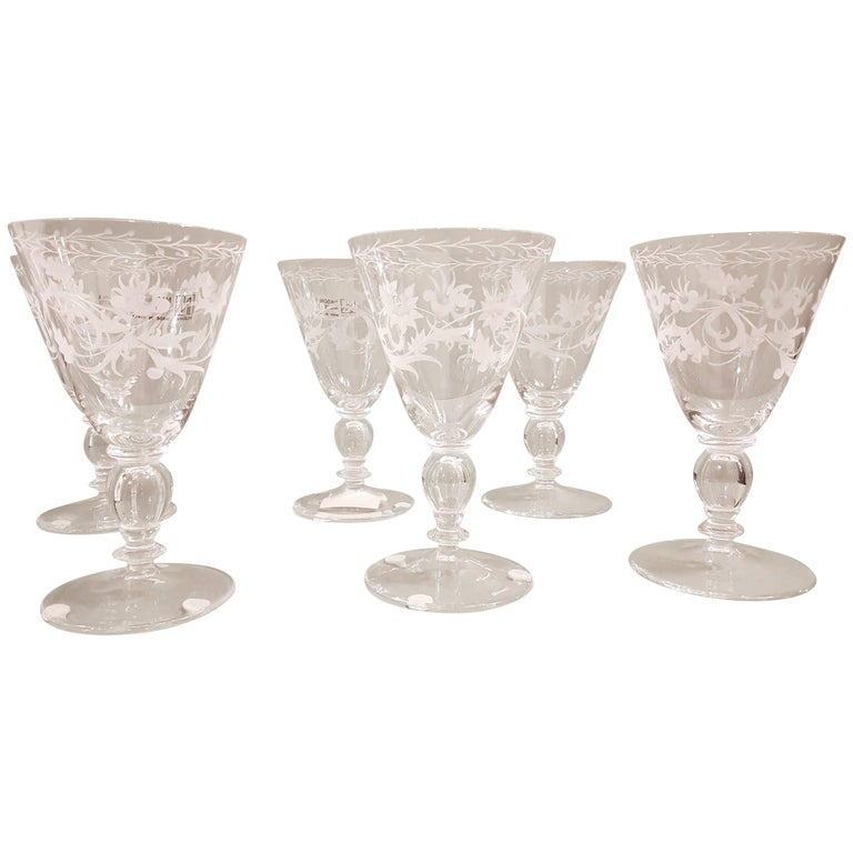Set of Six Murano Blown and Engraved Wine Glasses, NasonMoretti, Modern For Sale