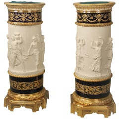 Pair of Late 19th Century Gilt Bronze-Mounted Sèvres Biscuit Porcelain Pedestals