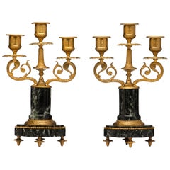 French Pair of Marble and Bronze Candelabra