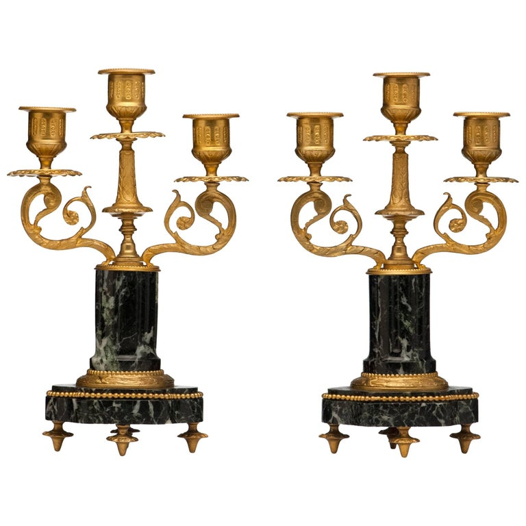 French Antique Pair of Marble and Bronze Candelabra