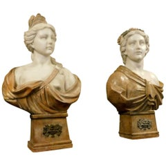 Antique Marble Bust with Bronze Ornament