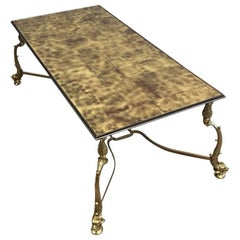 Neoclassical Style Brass Coffee Table with Gold Leafed Glass Top, Maison Jansen