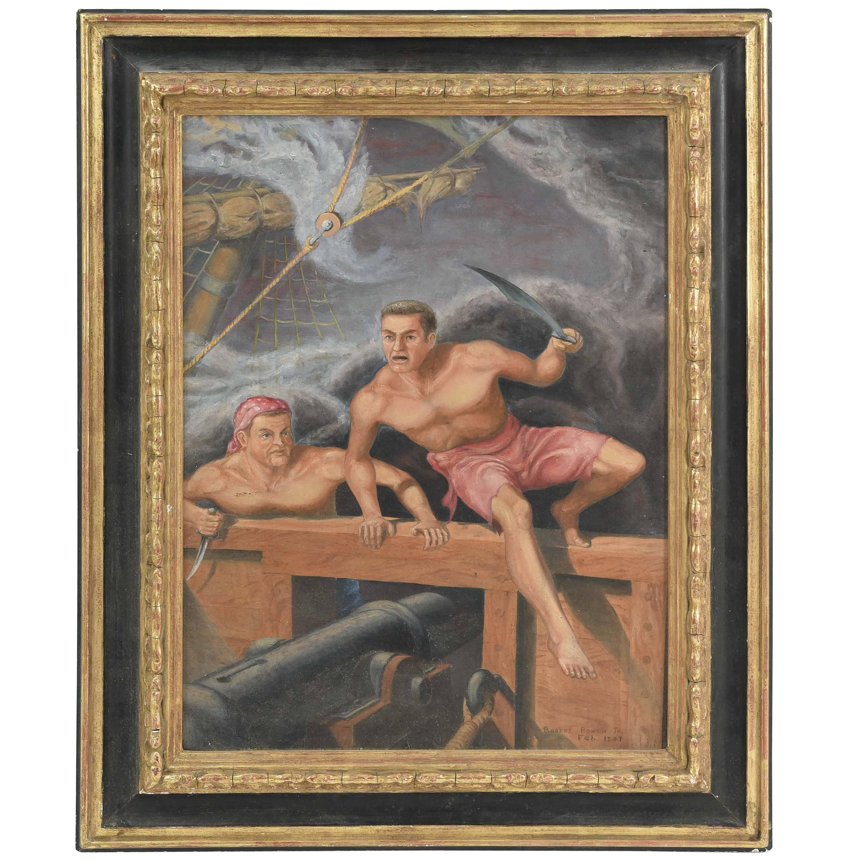 Robert Goss Bowen Jr. Oil on Canvas of Pirates