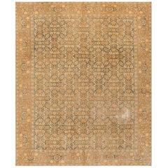 Antique Distressed Tan and Blue Silk Persian Tabriz Rug, 8.09x10.10
