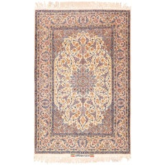 Ivory Background Vintage Persian Isfahan Rug