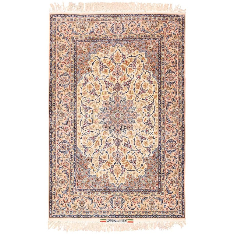 Ivory Wool And Silk Persian Naein Area Rug For Sale At 1stdibs: Ivory Background Vintage Persian Isfahan Rug For Sale At