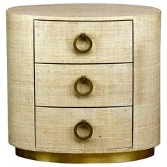 Raffia Grasscloth Oval Three-Drawer Dresser Nightstand