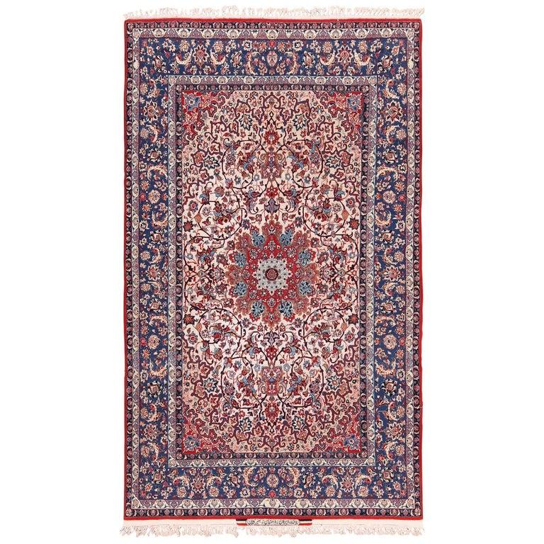 Persian Silk and Wool Vintage Isfahan Signed Seyrafian Rug