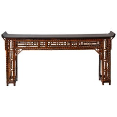 Chinese Bamboo Altar Table with Black Lacquer Top