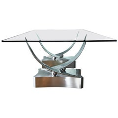 "Ron Seff ""Coronet"" Stainless Steel and Glass Dining Table"