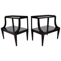 Pair of Ebony Side End Occasional Tables by Dunbar Wormley Midcentury 2275