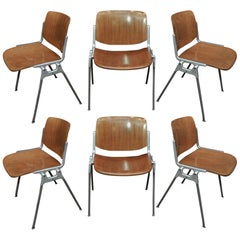 6 Stacking Chairs by Giancarlo Piretti for Castelli 1960s