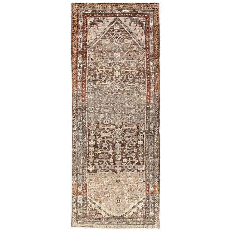 Geometric Design Antique Tribal Malayer Persian Runner Rug