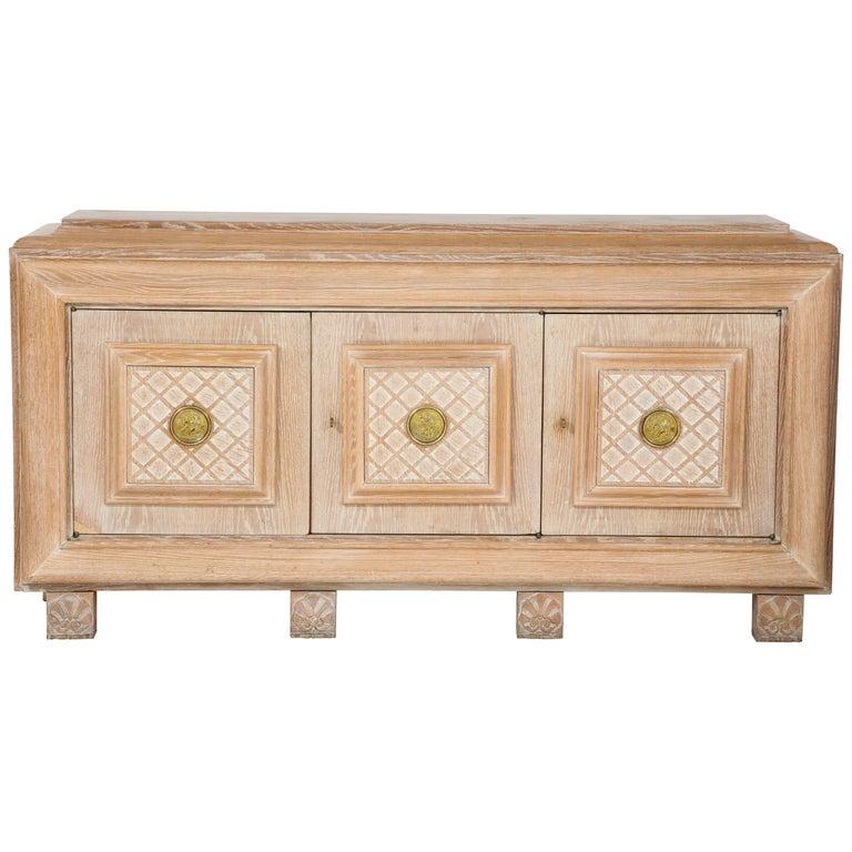 French Art Deco Cerused Oak Sideboard or Buffet