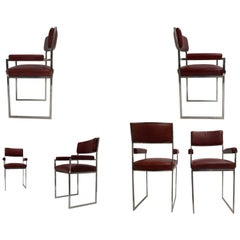 Eight Exquisite Willy Rizzo Carver Dining Chairs, 1970, Published Casa Vogue