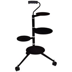 French Design Postmodern Rotating Rolling Tripod Trolley Plant Stand Memphis