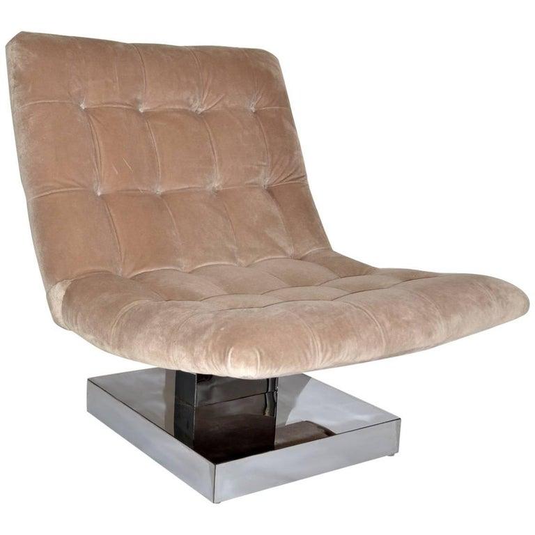 Milo Baughman Mohair Scoop Lounge Chair for Thayer Coggin, 1980