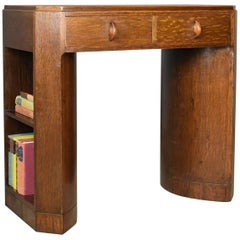 Art Deco Kneehole Writing Desk, English Oak, Leather, circa 1930