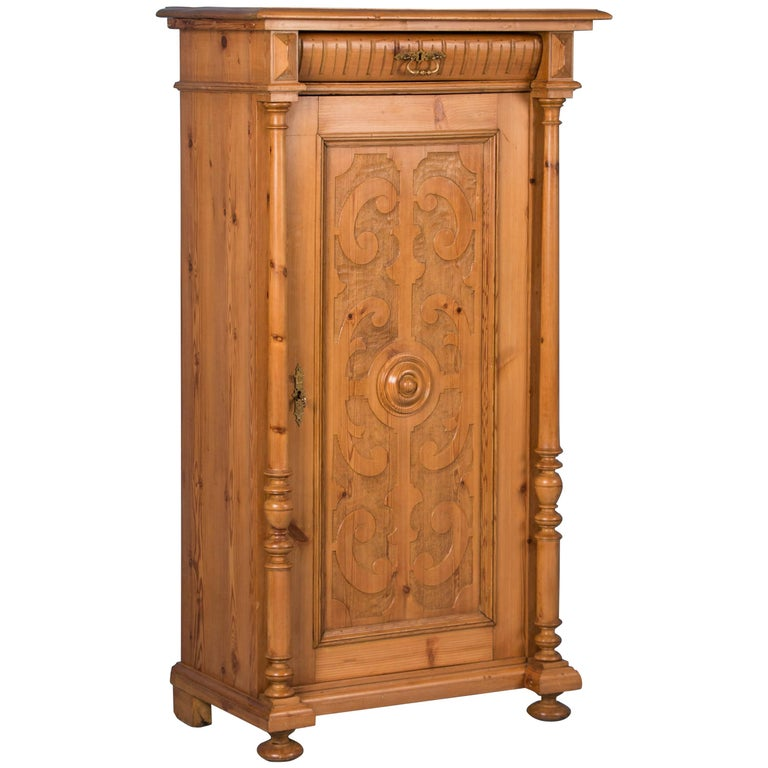 Carved Antique Single Door Narrow Pine Armoire From Denmark