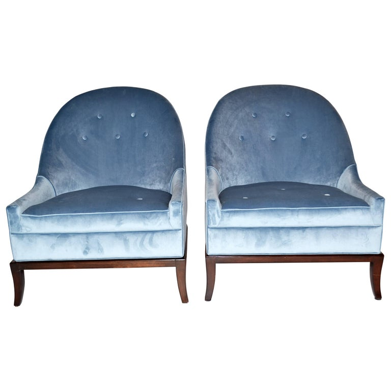 Pair of Rare Slipper or Lounge Chairs by T.H. Robsjohn-Gibbings for Widdicomb