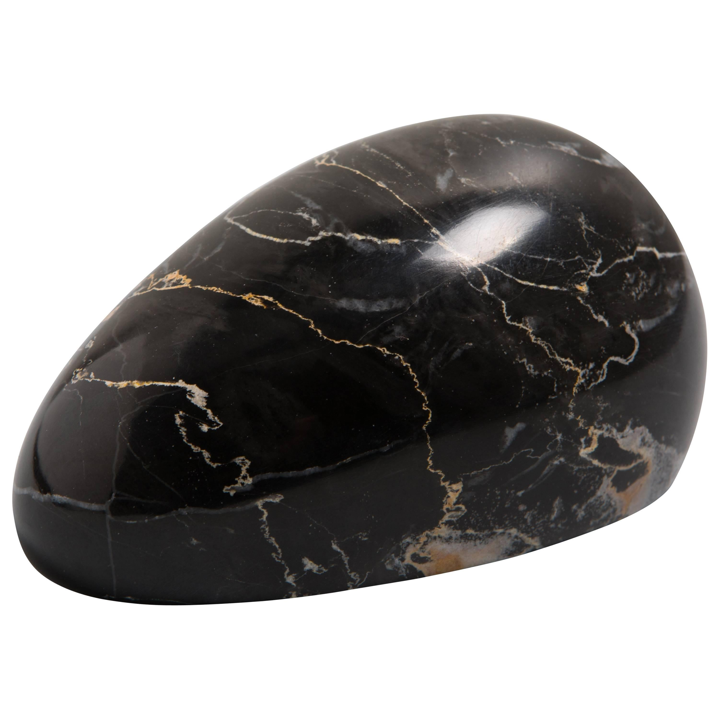Black Marble Paperweight with Mouse Shape