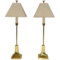 Pair of Brass Table Lamps by Sarreid Ltd. Midcentury Modern, 1987