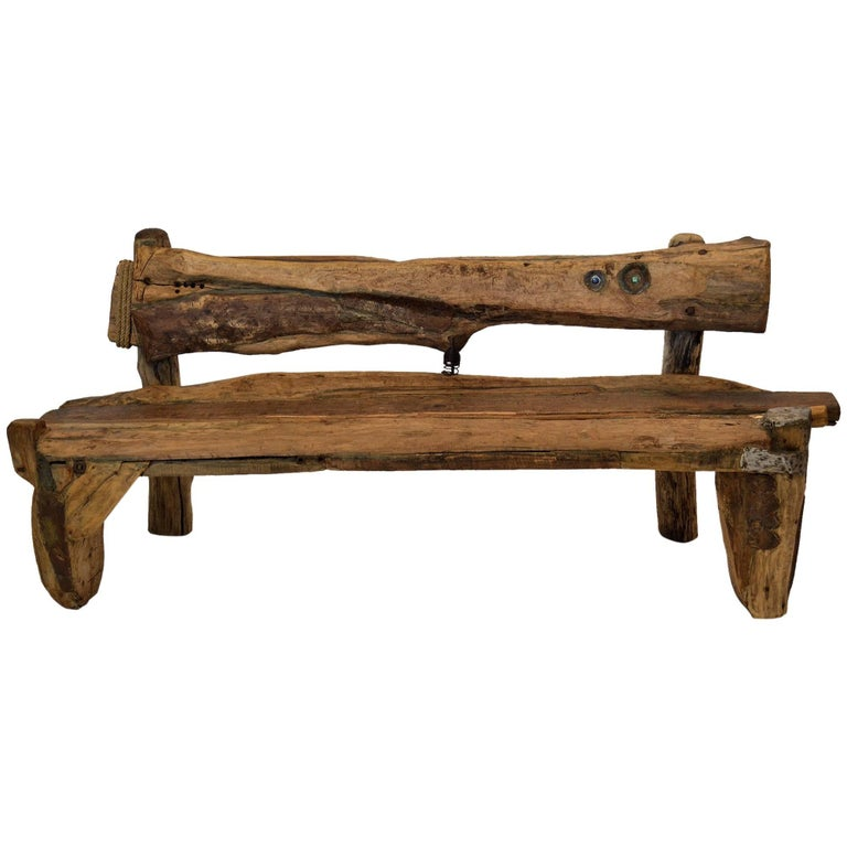 Unique Sculptural Folk Art Weathered Wood Bench Reclaimed Found Objects Studio For Sale