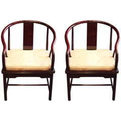 Pair of Asian Michael Taylor for Baker Style Lounge Chairs in Cream