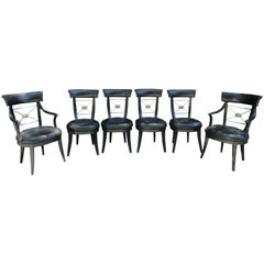 Set of Six Mid Century Neoclassical Leather and Bronze Dining Chairs