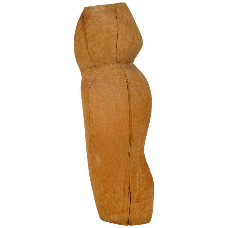 Abstract Sculpture Wood Carved Midcentury Reclaimed Organic Female Figural