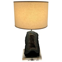Amethyst Geode Table Lamp in the Style of Willy Daro