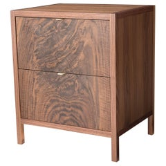 Laska Nightstand, Figured Walnut, Two Drawers, Customizable