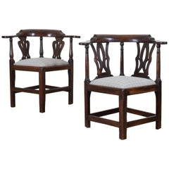 Near Pair of George III Walnut Corner Chairs, Late 18th Century