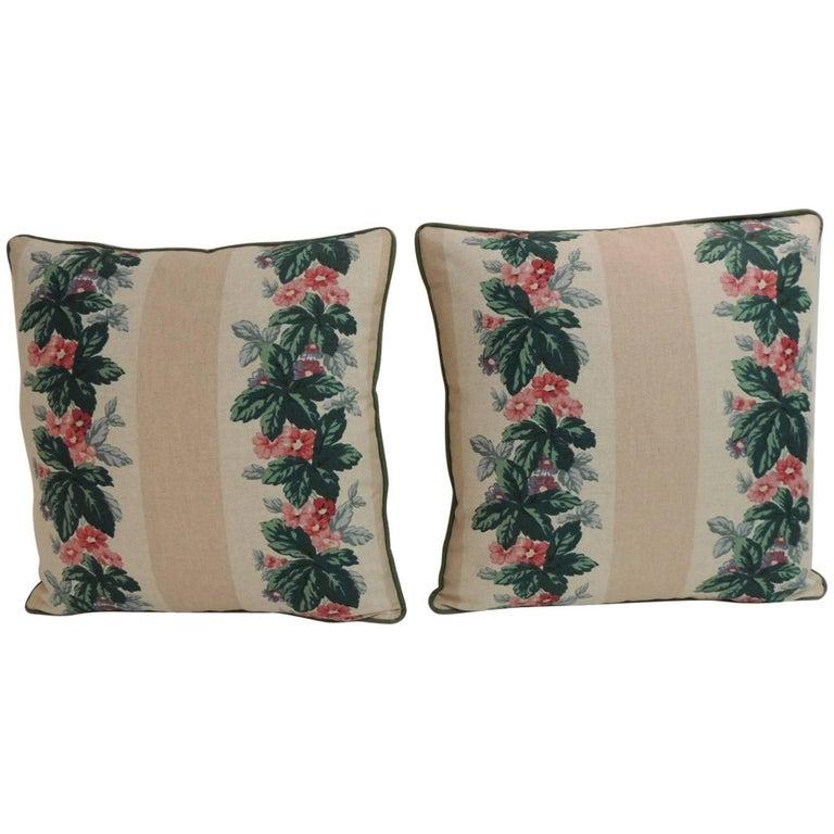 Pair of Vintage Floral Printed Linen Decorative Square Pillows