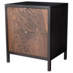 Laska Nightstand, Figured and Ebonized Walnut, Two Drawers, Customizable
