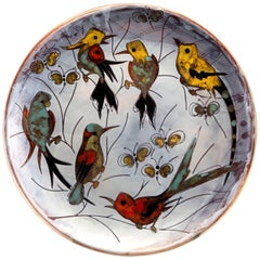 Extra Large Round Ceramic Vallauris Platter with Birds