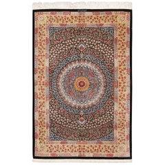 Floral Silk Vintage Qum Persian Rug