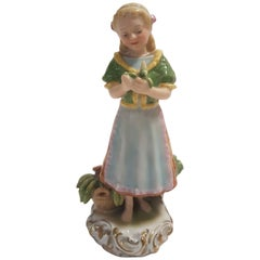 Herend Hand-Painted Hungarian Porcelain Figurine Representing a Fruit Vendor