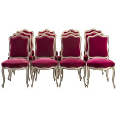 Set of 12 French Painted Chairs with Magenta Velvet Upholstery
