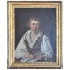 """Louis Landry French 18th Century Oil on Canvas """"Portrait d'un Jeune Homme"""""""